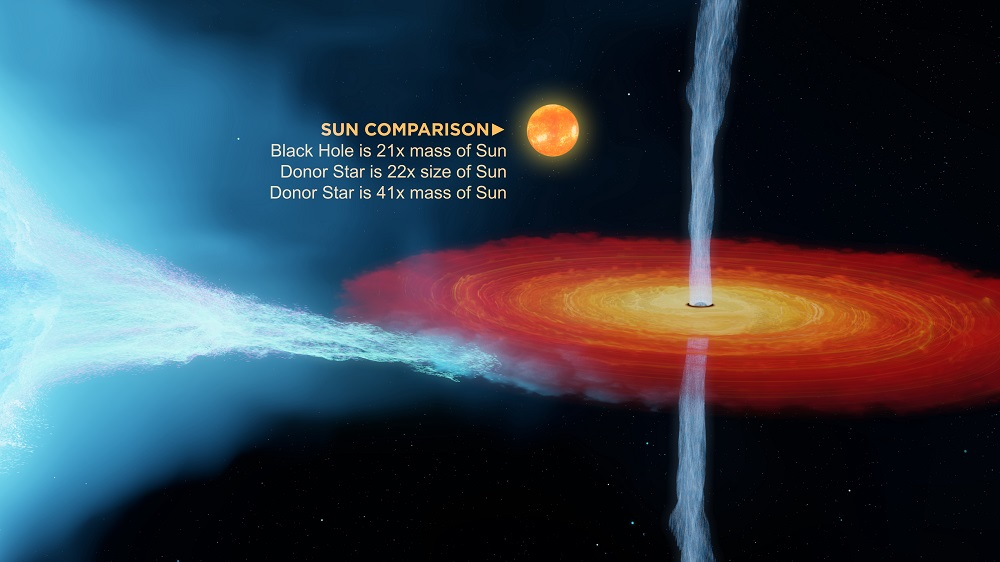 Illustration showing the size of the Sun, compared to the Cygnus X-1 black hole. The Sun hovers above the accretion disc, a rotating disc of red and yellow material with two blue jets being sent out from the central black hole.