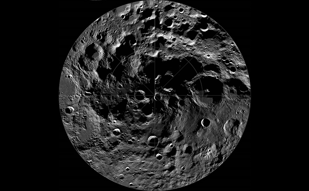 South pole profile of the moon showing many craters and mountains