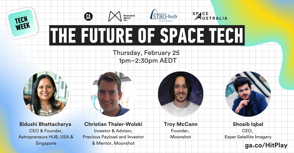 SpaceTech Speakers promo banner featuring faces of the four speakers
