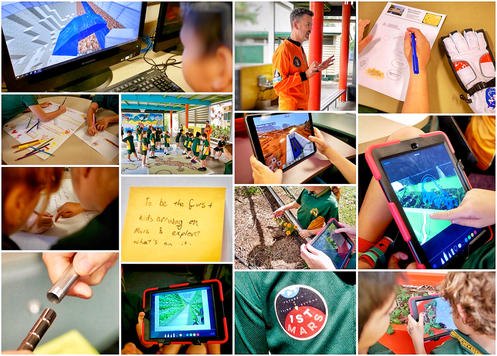 composite image featuring a number of different students participating in science and learning activities in classroom and online.