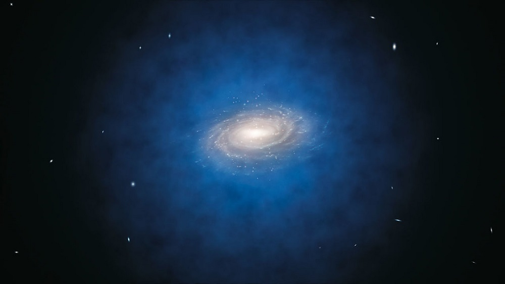 Graphic of a dark matter halo in blue, which looks like a spherical cloud, surrounding the Milky Way galaxy at the centre.