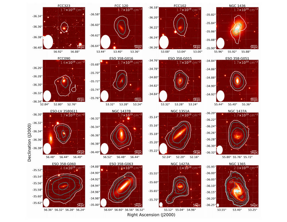 12 tile images that show individual galaxies each (in red) which have a visual representation of the galaxy and then the radio contour lines surrounding it.