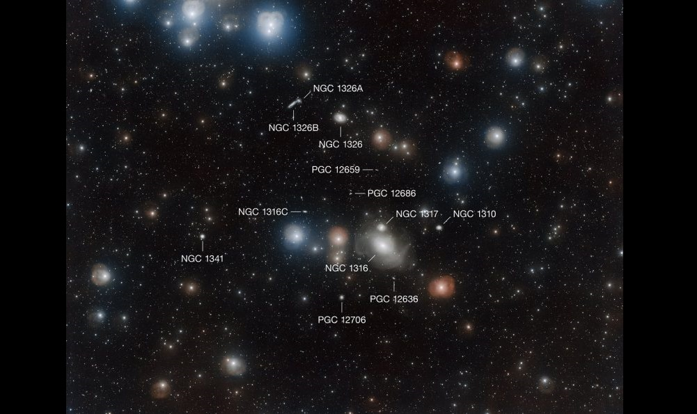 Several galaxies from Fornax Cluster, annotated.