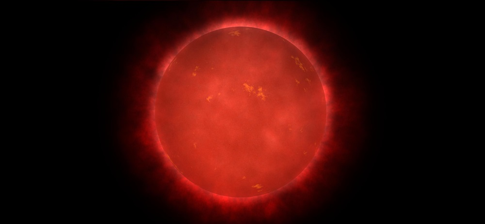 Artist illustration of a red dwarf star, showing some surface features.