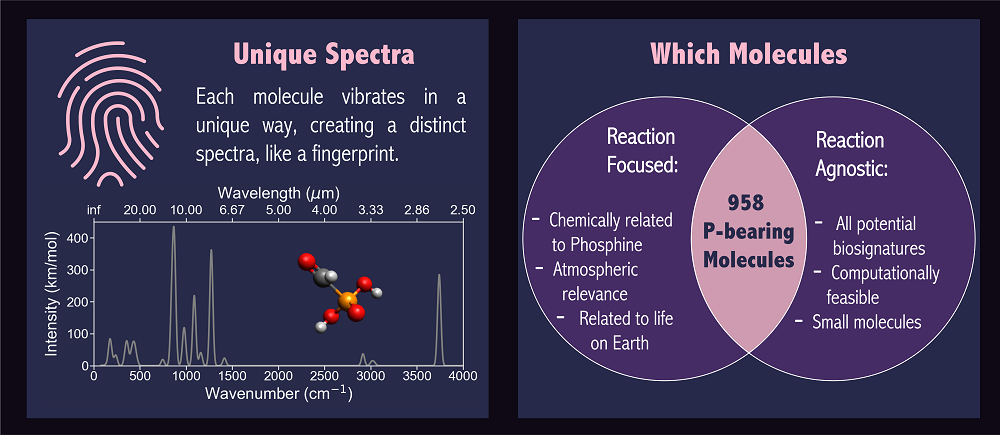 The unique spectra is represented by a plot that shows the intensity of vibration per molecule relative to its wavenumber.