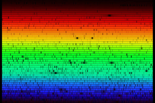 The solar spectrum arranged from red at the top to blue down the bottom. Each colour row contains a unique set of dark fringes which represent a different elementary signature in the overall spectrum of the row.